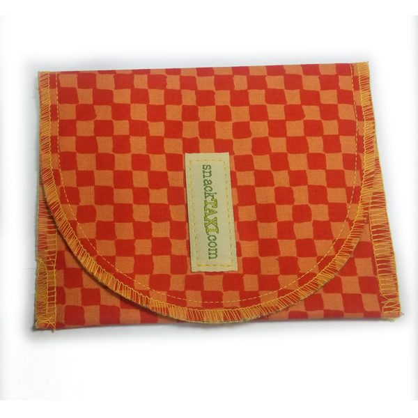 Reusable Snack Bag Orange Checkered