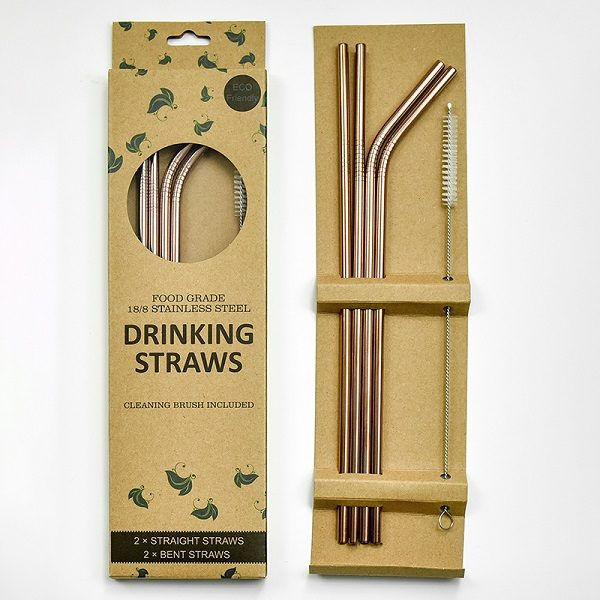 Stainless Steel Straws (Rose Gold)