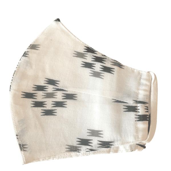 White Ikat Women's Mask