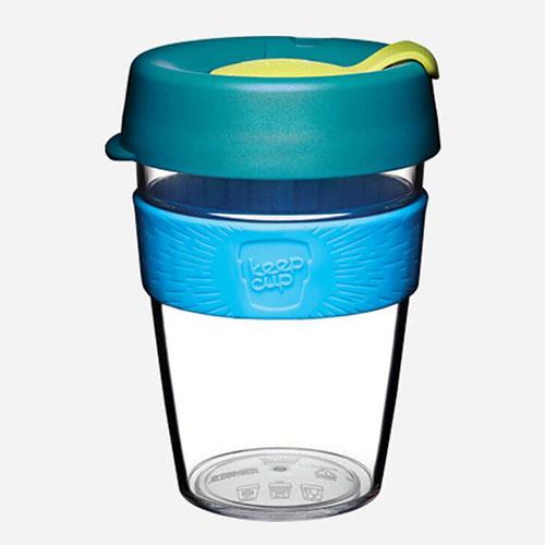 reusable clear plastic cup blue 12oz 1